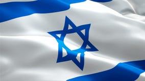 Vídeo israelita da bandeira que acena no vento Fundo judaico realístico da bandeira Metragem completa de Israel Flag Looping Cl