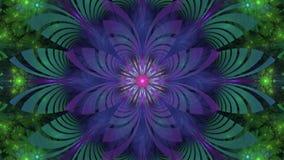 Vídeo loopable hermoso del fractal con una flor verde, rosada, púrpura y azul giratoria detallada del intercambio