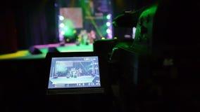 Vídeo mostrado na exposição da câmara de vídeo profissional filme
