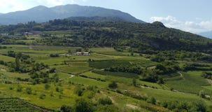 Vídeo panorâmico do vale italiano da montanha com plantações do vinhedo video estoque
