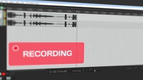 Vídeo que mostra forma de onda movente da gravação audio no computador à trilha estereofônica em linha e adverte o usuário com pi filme