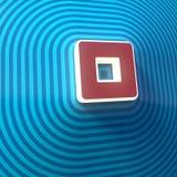 Vídeo, símbolo audio de la parada, botón, muestra colorida representación 3d stock de ilustración
