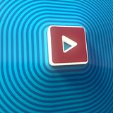 Vídeo, símbolo audio del juego, botón, muestra colorida representación 3d stock de ilustración