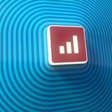 Vídeo, símbolo audio del volumen, botón, muestra colorida representación 3d stock de ilustración