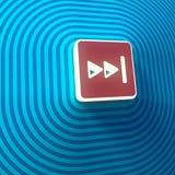 Vídeo, símbolo delantero rápido audio de las flechas derechas del doble, botón, muestra colorida representación 3d libre illustration