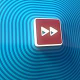 Vídeo, símbolo doble delantero audio de las flechas derechas, botón, muestra colorida representación 3d ilustración del vector