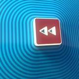 Vídeo, símbolo doble posterior audio de las flechas derechas, botón, muestra colorida representación 3d stock de ilustración