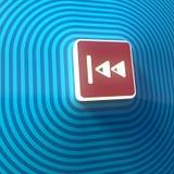 Vídeo, símbolo posterior rápido audio de las flechas derechas del doble, botón, muestra colorida representación 3d stock de ilustración