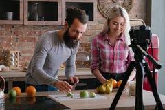 Vídeo sano de los pares del blog de la comida de la nutrición de Vlog foto de archivo