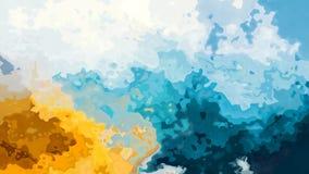 Vídeo sem emenda manchado twinking animado do laço do fundo - efeito do splotch da aquarela - azul-céu, amarelo ensolarado e colo ilustração stock
