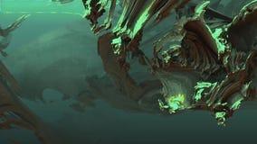 Vídeo subaquático abstrato de viagem do fundo das estruturas da caverna atmosférica misteriosa do fractal da natureza vídeos de arquivo