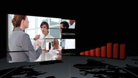 Vídeos del negocio al lado de la animación de la estadística metrajes