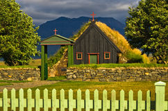 Vídimyrarkirkja turf and wooden church built in 1834 at summer sunny day Royalty Free Stock Images
