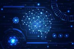 Vínculo digital de la tecnología del cerebro abstracto del concepto en el azul de alta tecnología b ilustración del vector