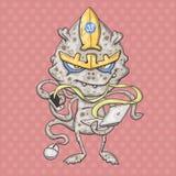 Vírus da rede do monstro dos desenhos animados ilustração stock