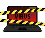 Vírus dentro do portátil com crime do Internet da fita de advertência ilustração stock