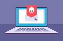 VÍRUS DO EMAIL Envelope com mensagem do malware com o crânio na tela do portátil Spam do email, embuste phishing e ataque do hack ilustração stock