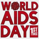 Vírus e data do VIH para comemorar o dia da conscientização do SIDA do mundo, ilustração do vetor Fotos de Stock