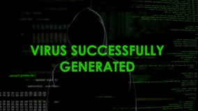 Vírus gerado com sucesso, homem no malware de lançamento preto, ataque secreto dos dados vídeos de arquivo