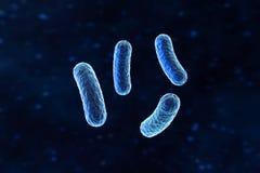 Vírus infeccioso com detalhes de superfície no fundo azul, rendição 3d ilustração stock