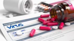 Vírus - inscrição no extrato da doença ilustração 3D Fotografia de Stock