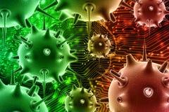 Vírus no fundo médico da tecnologia 3d rendem ilustração do vetor