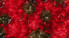 Vírus no verde em substâncias moventes vermelhas ilustração royalty free
