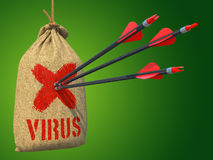 Vírus - setas batidas em Mark Target vermelho Fotografia de Stock Royalty Free