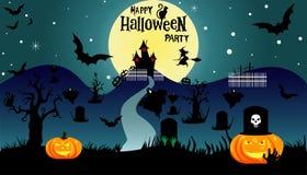 Víspera de Todos los Santos Ejemplo de Halloween con la calabaza de Halloween, palo, t stock de ilustración
