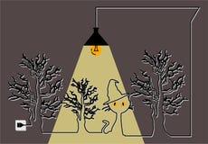 Víspera de Todos los Santos El cartel con un gato debajo de los árboles y de la lámpara ilustración del vector