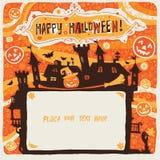 Víspera de Todos los Santos feliz Cartel, tarjeta o fondo de Halloween para la invitación del partido de Halloween Foto de archivo libre de regalías
