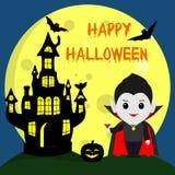Víspera de Todos los Santos feliz El vampiro Drácula en el estilo de la historieta se coloca al lado del castillo en el fondo de  libre illustration