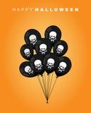 Víspera de Todos los Santos feliz Globo negro con el cráneo y los huesos Accesorio t Imagen de archivo