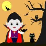 Víspera de Todos los Santos feliz La historieta de Drácula del vampiro sostiene un palo en su mano Gato negro, búho, árbol, araña libre illustration