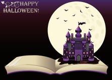 Víspera de Todos los Santos feliz Libro viejo con el castillo de la bruja Fotografía de archivo