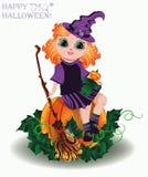 Víspera de Todos los Santos feliz Pequeña muñeca de la bruja y de la calabaza Imagen de archivo