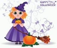 Víspera de Todos los Santos feliz Pequeña tarjeta linda de la bruja y de la calabaza Foto de archivo