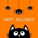 Víspera de Todos los Santos feliz Silueta de la cabeza de la cara del gato negro que mira para arriba a tres que cuelgan Imagen de archivo