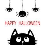 Víspera de Todos los Santos feliz Silueta de la cabeza de la cara del gato negro que mira para arriba a tres que cuelgan en la lí Fotos de archivo libres de regalías