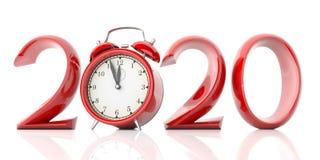Víspera del Año Nuevo 2020, dígitos rojos y despertador aislados en el fondo blanco ilustración 3D ilustración del vector