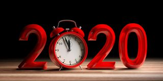 Víspera del Año Nuevo 2020, dígitos rojos y despertador en el escritorio de madera, fondo negro ilustración 3D libre illustration