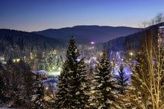 Víspera del ` s del Año Nuevo en el bosque del invierno fotografía de archivo