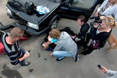 Vítima de choque de carro Fotos de Stock