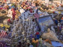58 vítimas do ataque de terror de Vegas - expressão dos pêsames - LAS VEGAS - NEVADA - 12 de outubro de 2017 Imagens de Stock Royalty Free