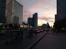 Vóór de zonsondergang op Arbat van Moskou Stock Fotografie