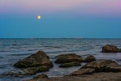 Vóór duisternis, moonrise Royalty-vrije Stock Fotografie