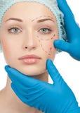 Vóór plastische chirurgieverrichting stock afbeeldingen