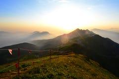 Vóór zonsondergang op Rosa Khutor stock afbeeldingen
