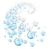 Vórtice de ciánico azul de las burbujas stock de ilustración