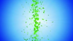 Vórtice de las hojas verdes Partícula brillante espiral de hojas estacionales Hoja de baile Animación colorida del lazo del túnel almacen de metraje de vídeo